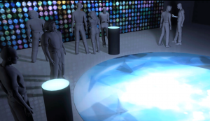View of the installation, touch-interface, projection and mobile phone remix experiences.