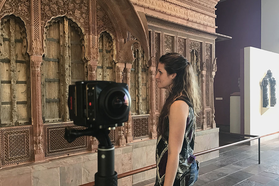 Brittany and camera at structure