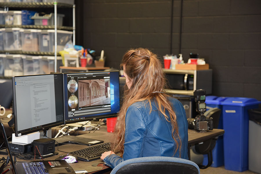 Brittany working at computer